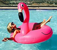 Надувной круг Розовый фламинго большой гигантский  #120 + насос
