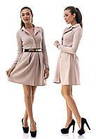 Платье клеш из рифленого трикотажа с красивым поясом в комплекте