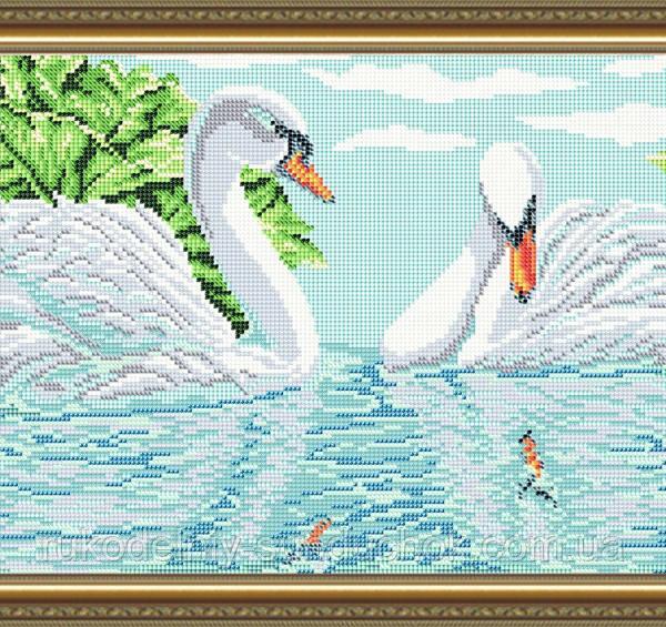 Схема на ткани под вышивку бисером Art Solo VKA3100. Лебеди (полная зашивка)