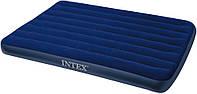 Полуторный надувной матрас с велюровым верхом Intex, темно-синий