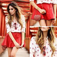 Рубашка (блузка) женская с поцелуйчиками модная весна 2017
