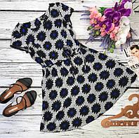 Симпатичное базовое платье с юбкой-солнце в принт-ромашки  DR31291