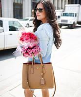Женская сумка в стиле PRADA CUIR DOUBLE BAG CAMEL (6929-1)