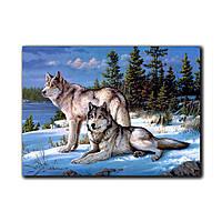 """Фотокартина на холсте """"Волки на снегу"""" 1000х700мм"""