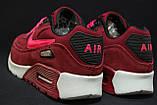 Бордовые женские кроссовки в стиле найк аир макс Nike Air Max натуральный замш, фото 2