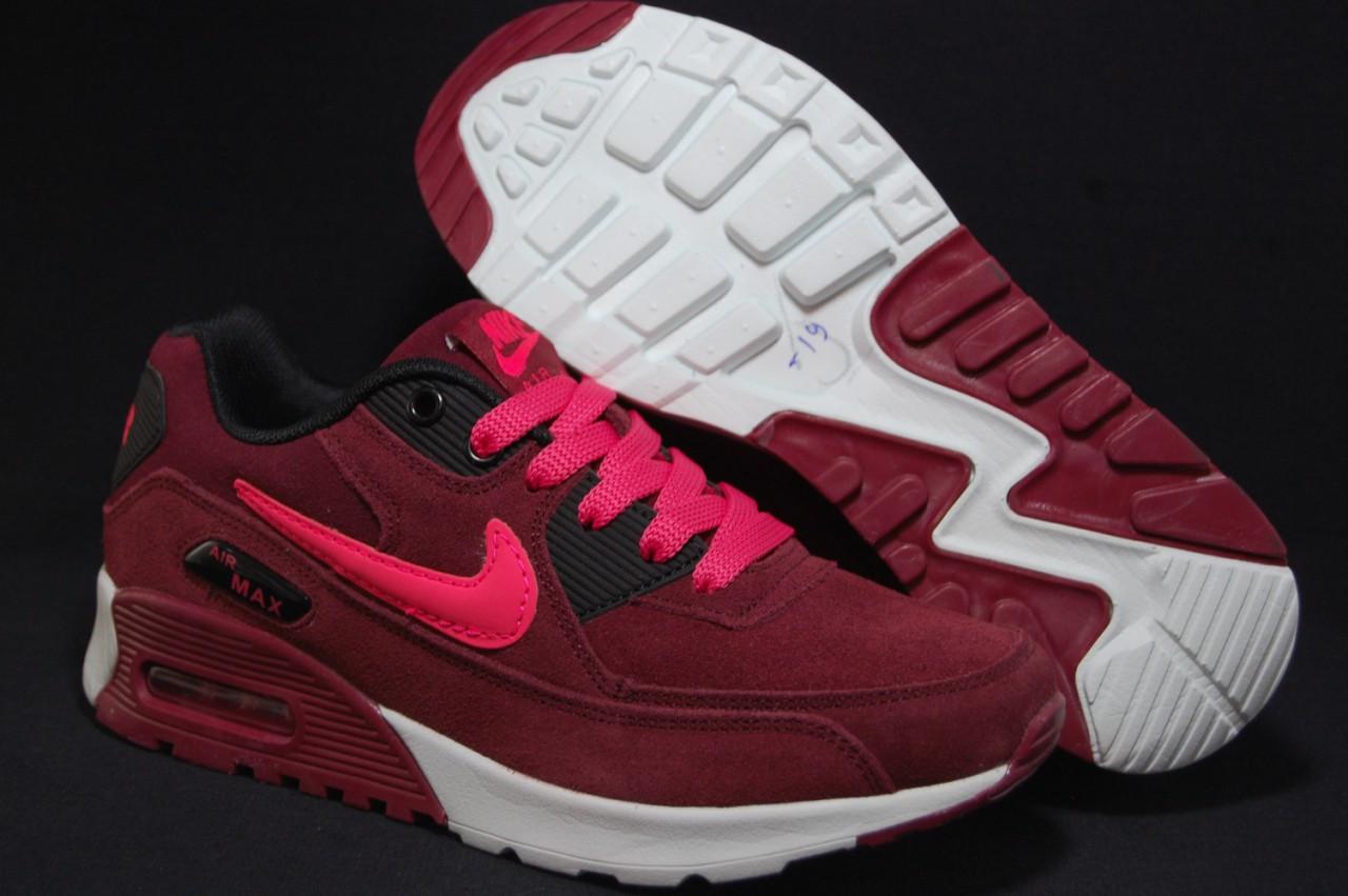 Бордовые женские кроссовки в стиле найк аир макс Nike Air Max натуральный замш