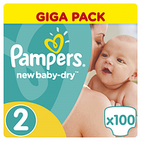 Подгузники Pampers New Baby-Dry 2 (3-6 кг) Giant Pack,100 шт.