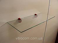 Полка стеклянная прямая 5 мм прозрачная 40 х 15 см, фото 1