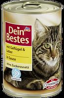 Мясное рагу для кошек Dein Bestes mit Geflügel & Leber, 400 гр.