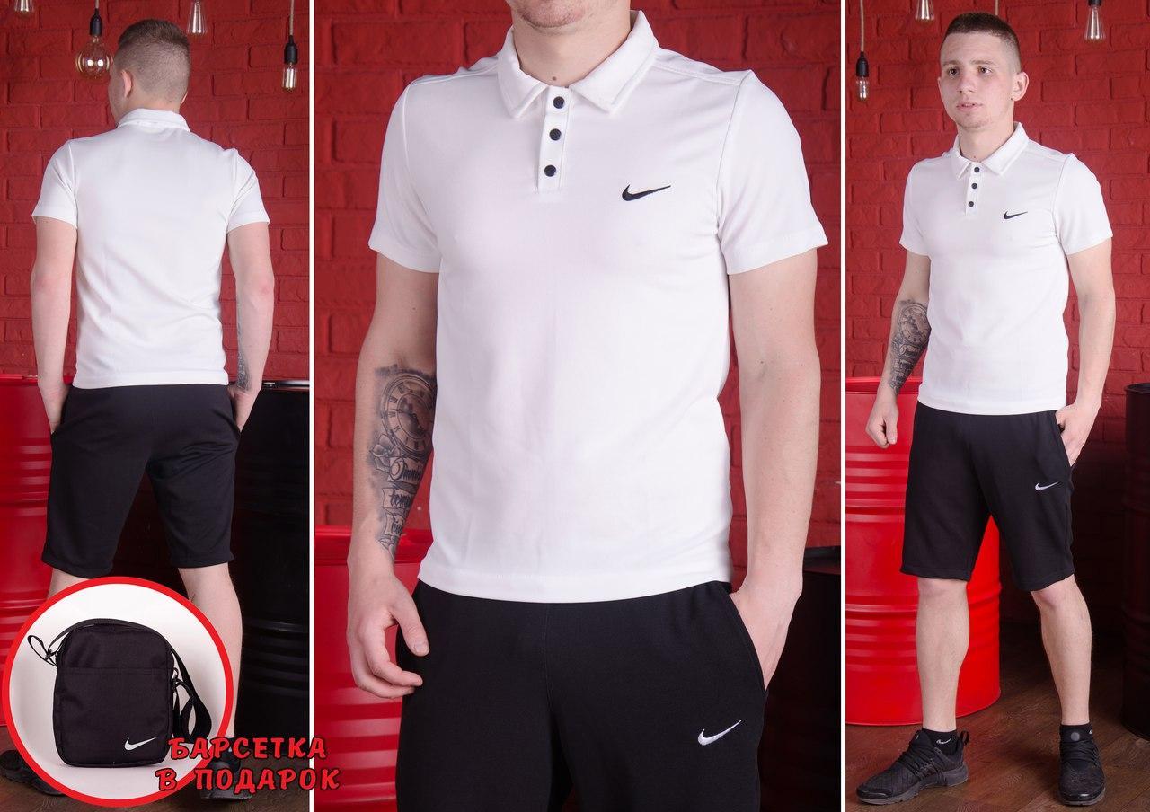 de16579dc282b Белая футболка поло мужская Nike, футболка Найк (вишивка логотип) - SOMA в  Харькове