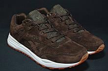 Чоловічі демісезонні крососвки натуральний замш коричневі в стилі Reebok