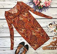 Интересное платье с воротником-хомутком в принт «пейсли»  DR31987