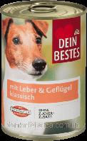 Консерва с мясом домашней птицы и печени для собак DeinBestes Nassfutter für Hunde & Leber  klassisch 400 г