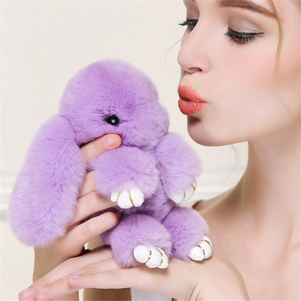 Сиреневый, фиолетовый брелок, кролик из искусственного меха 15, 20 см