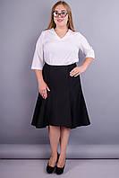 Классика. Удлиненная юбка больших размеров. Черный.