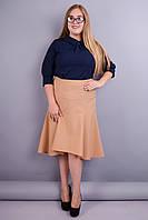 Классика. Красивая юбка больших размеров. Беж.