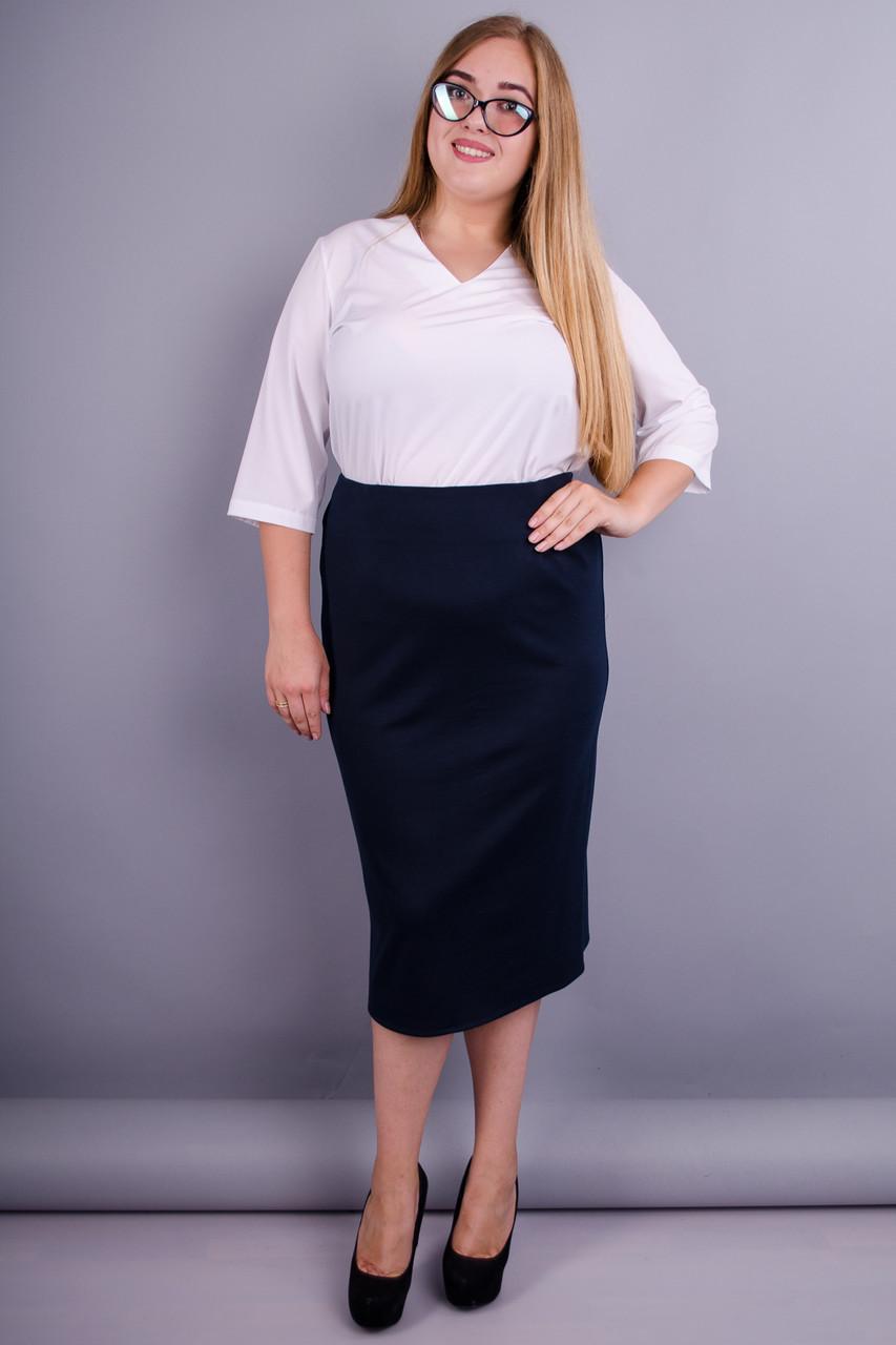 Симона. Стильная юбка больших размеров. Синий.