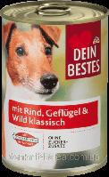 Консерва мяса говядины, домашней птицы и дичи для собак Hunde mit Rind Geflügel 400 гр