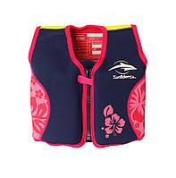 Детский плавательный жилет Konfidence Original Navy/Pink/Hibiscus (KJ05-B), фото 1