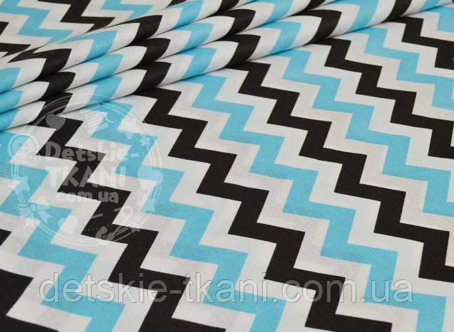 Лоскут ткани №778 с зигзагом чёрным и бирюзовым (с голубым оттенком)