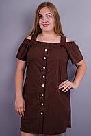 Клариса. Стильное платье больших размеров. Коричневый.