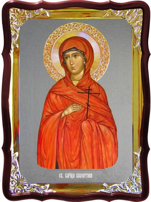 Икона с фоном под серебро Святая Валентина  в церковной лавке