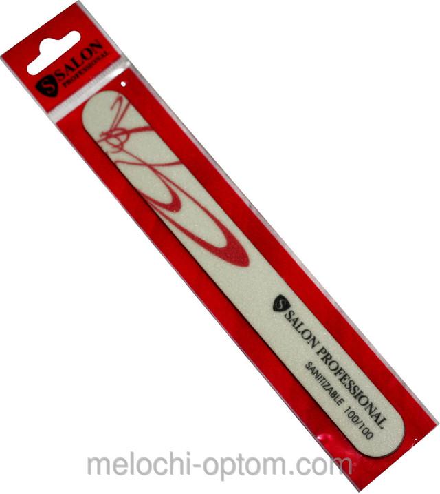 Пилки для ногтей SALON PROFESSIONAL (100/100) Teflon, узкие, бумеранг, бело-розовая