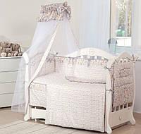 Детский постельный комплект Twins Premium P-018 Зоо 8 предметов, серый