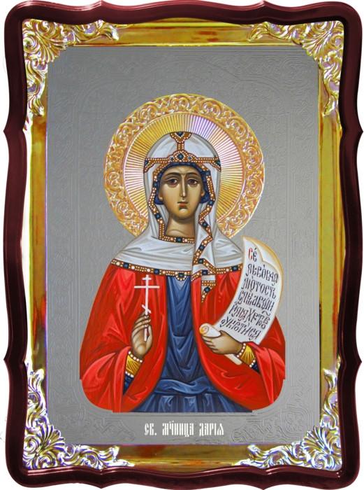 Икона с фоном под серебро Святая Дария  в церковной лавке