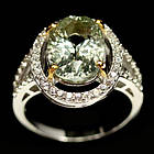 Серебряное кольцо 925 пробы с натуральным зеленым аметистом Размер 17,5