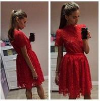 Костюм гипюровый топ+юбка Красный