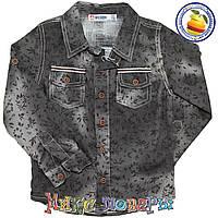 Коричневая джинсовая Рубашка Длинный рукав от Размеры: 104-110-116 см (5569)