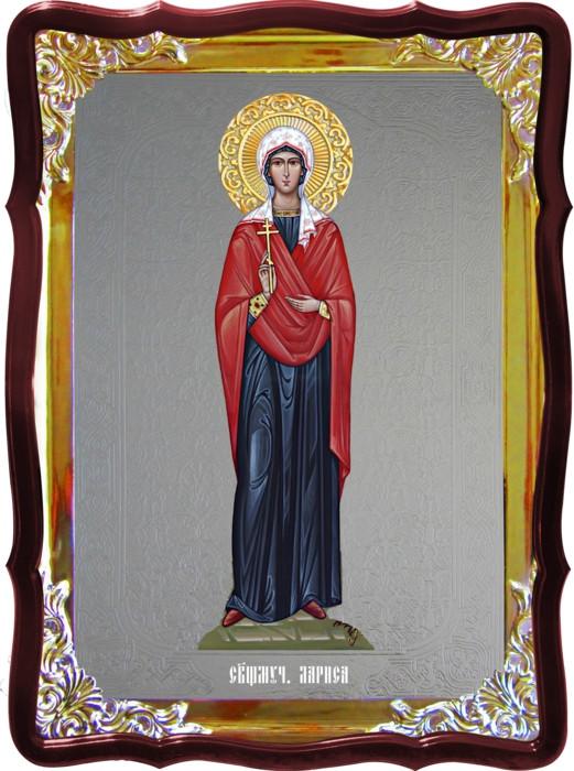 Икона с фоном под серебро Святая Лариса ростовая в церковной лавке