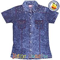 Джинсовая рубашка на кнопках с коротким рукавом для девочек Размеры: 5-6-7-8 лет (5570)