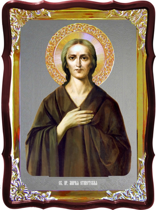 Икона под серебро Святая Мария Египетская  в церковной лавке