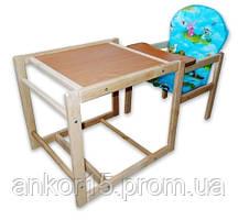 Дерев'яний дитячий стільчик-трансформер для годування «Полянка»