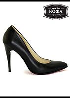 Женские туфли лодочки кожаные 5090-28 (черный)