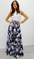 Яркая женская шелковая юбка в пол у-97122
