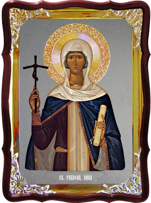 Икона с фоном под серебро Святая Нина  в православном интернет магазине