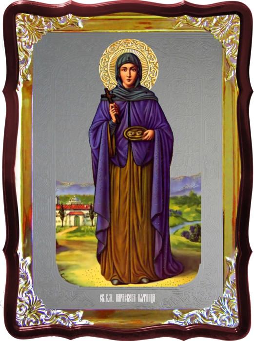 Храмовая икона под серебро Святая Параскева Пятница (рост) в церковной лавке