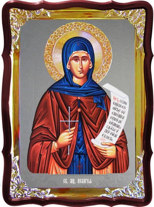 Икона с фоном под серебро Святая Пелагия  в церковной лавке
