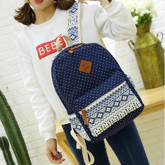 Школьный рюкзак с орнаментом с сумочкой и косметичкой