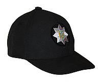 """Тактическая кепка-бейсболка шестиклинка черный с кокардой """"полиция"""". Размер M, 56 см."""