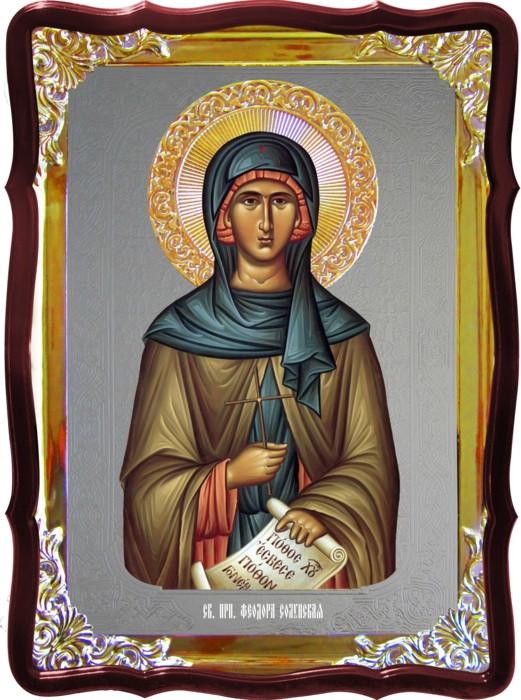 Икона с фоном под серебро Святая Феодора Солунская преподобная  в православном магазине