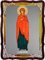 Икона с фоном под серебро Святая Валентина ростовая  в церковной лавке