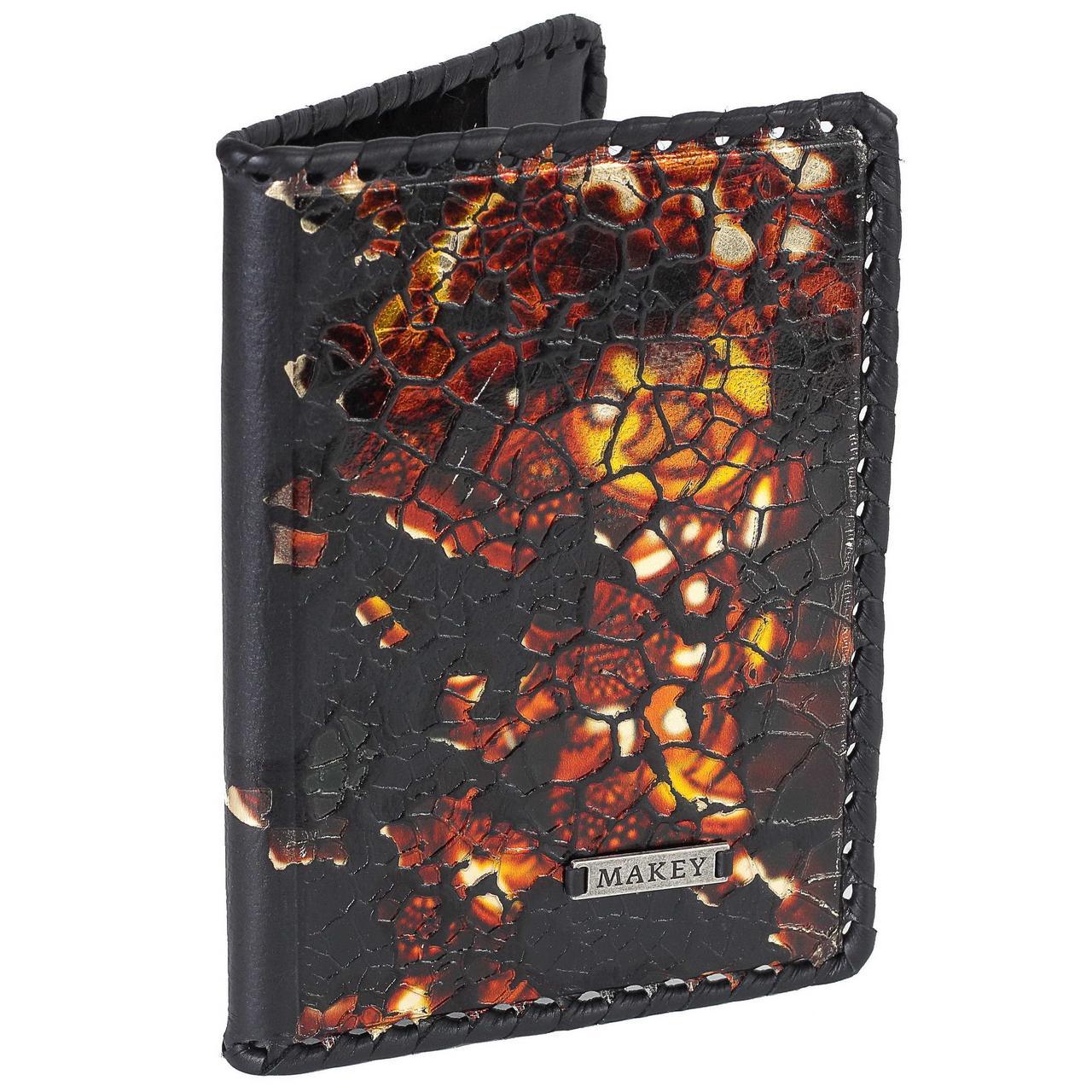 """Обложка на паспорт кожаная с ручной оплеткой """"Феникс"""" (Makey)"""