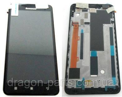 Дисплей Lenovo A5000 с сенсором черный/black , оригинал 5D68C01820, фото 2