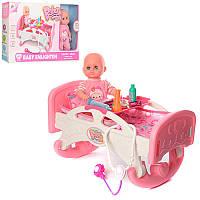 Кукла пупс в кроватке Doctor W0183, 9 предметов: постель + набор доктора