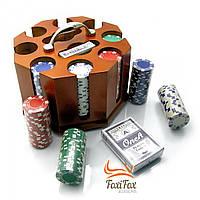 Покерный набор на 200 фишек в деревянном футляре