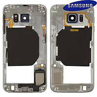 Средняя часть корпуса для Samsung G920F Galaxy S6, оригинал (черная)